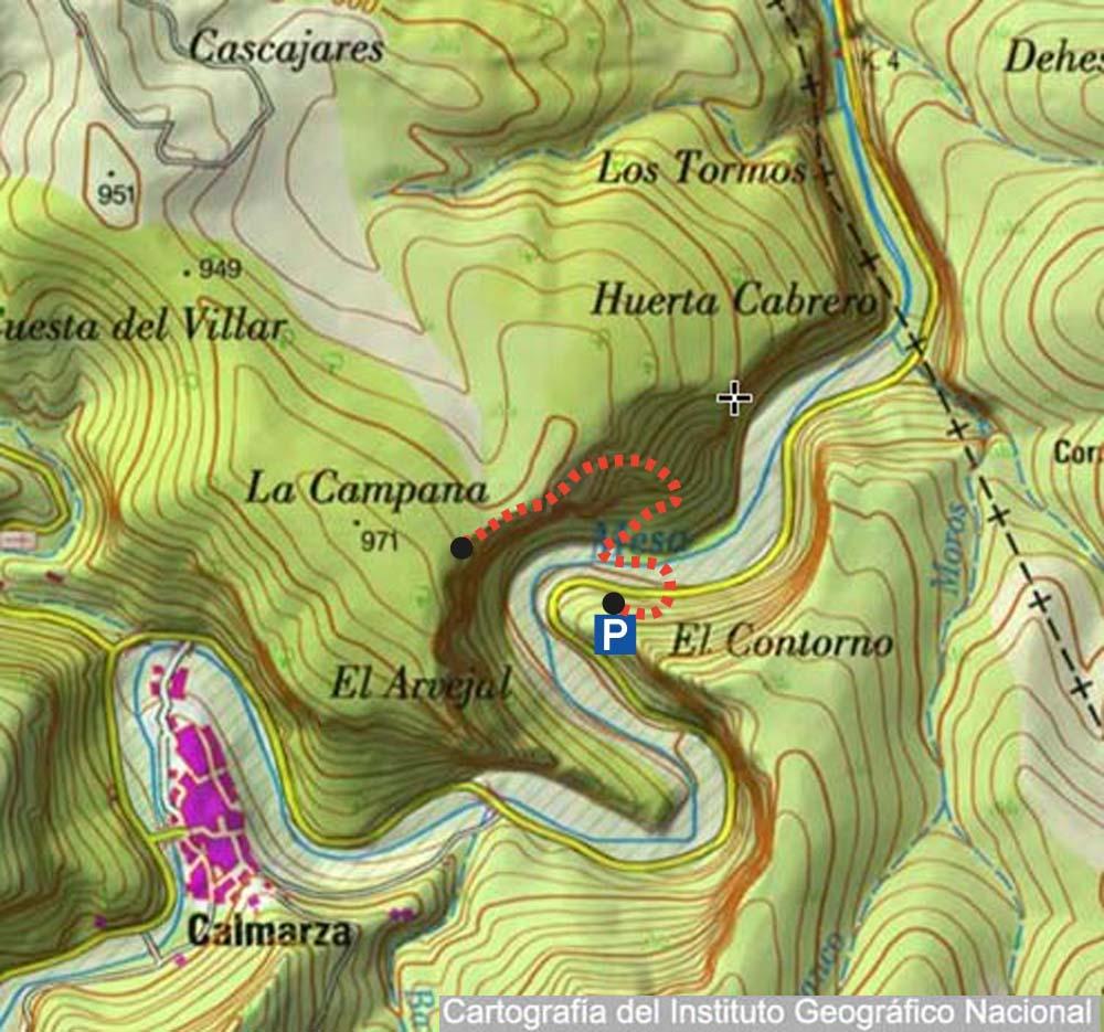 Mapa topográfico con el sendero que asciende hasta el mirador de los Buitres, desde el río Mesa.