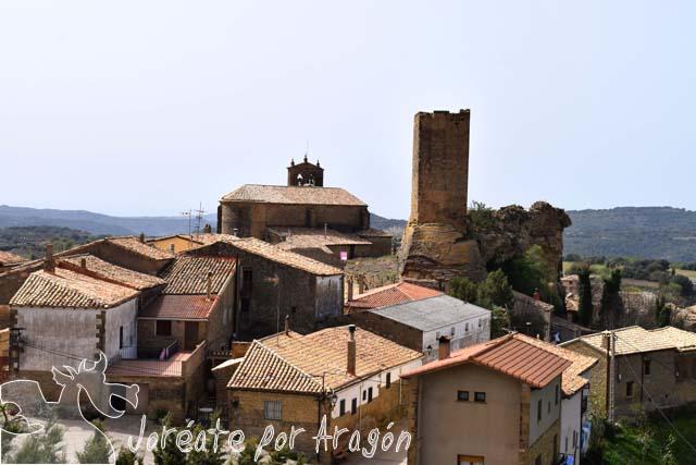 Vista de la población de Luesia desde la ermita de la Virgen del Puyal.